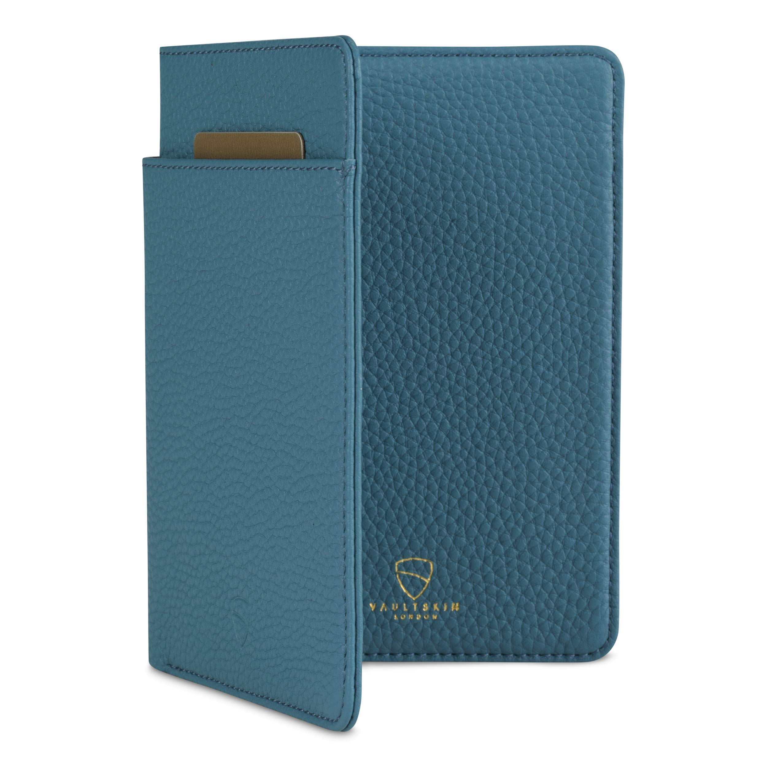 Vaultskin KENSINGTON Leather Passport Wallet with RFID Protection (Matt Turquoise) by Vaultskin