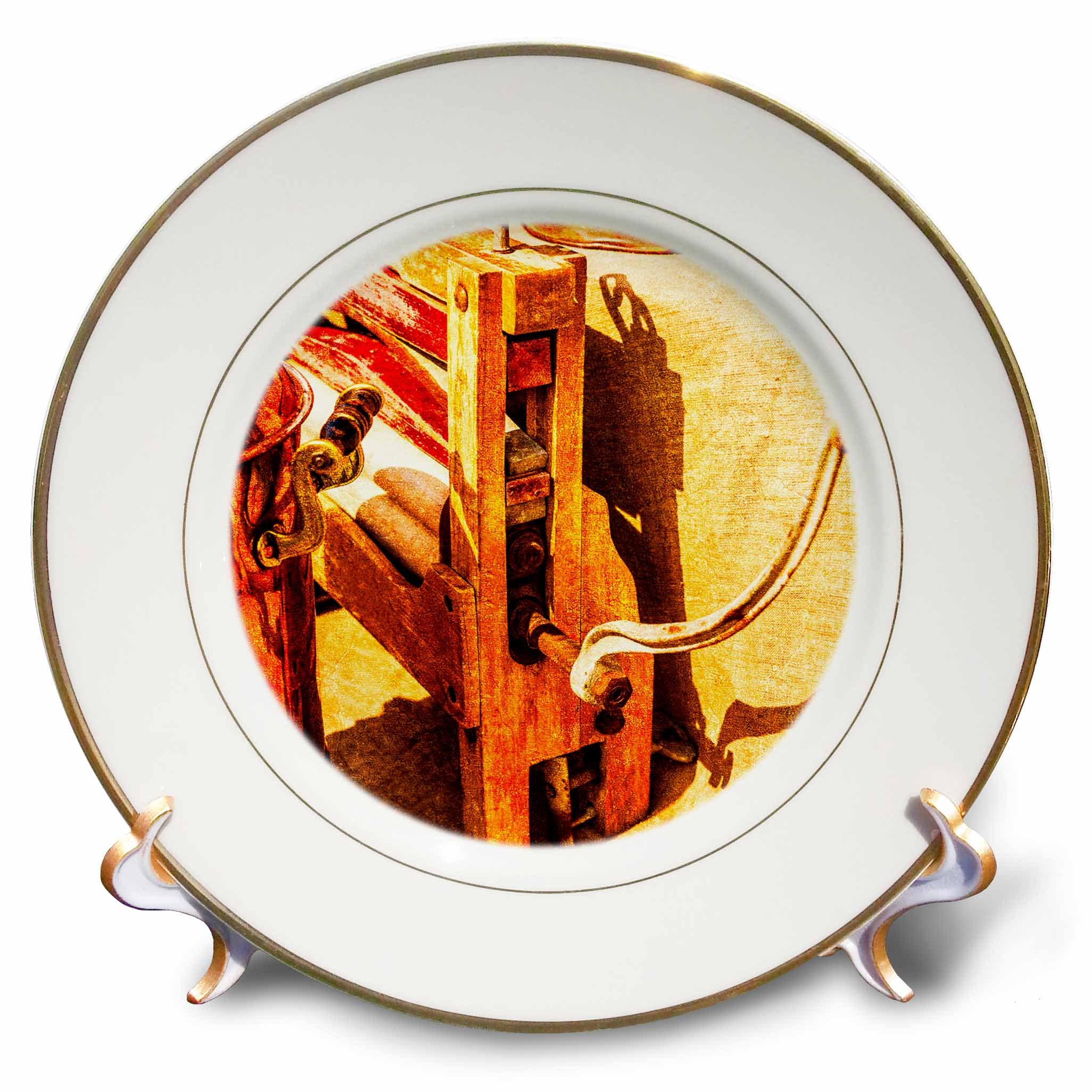 3dRose Alexis Photography - Objects - Golden age technologies - Vintage wringer. Stylized photo - 8 inch Porcelain Plate (cp_270868_1)