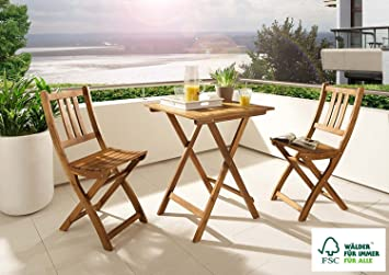 SAM 3 Piece Balcony Set, Acacia Wood Garden Furniture Comprising 1 X  Balcony Table
