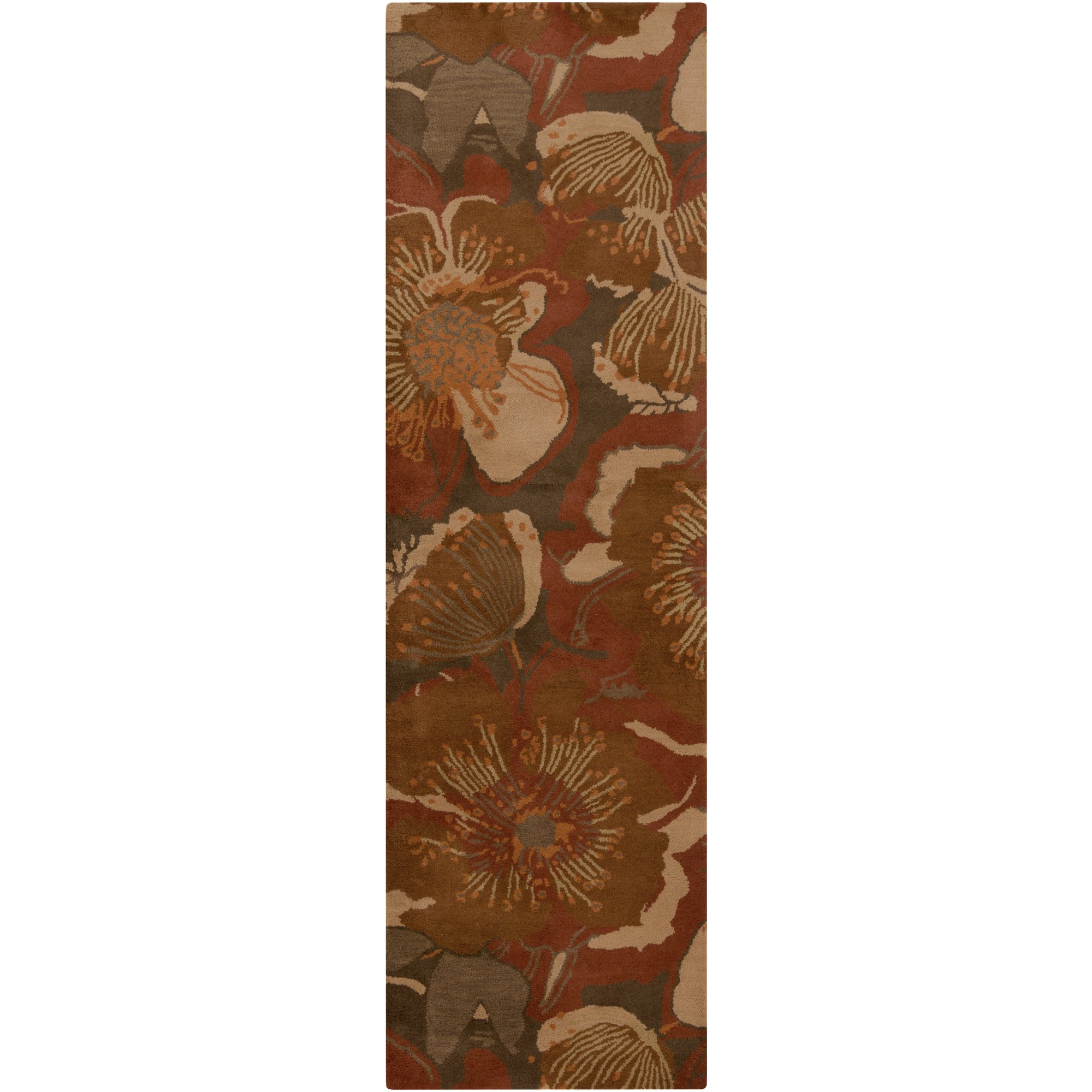 Surya Athena ATH-5102 Transitional Hand Tufted 100% Wool Sepia 2'6'' x 8' Floral Runner