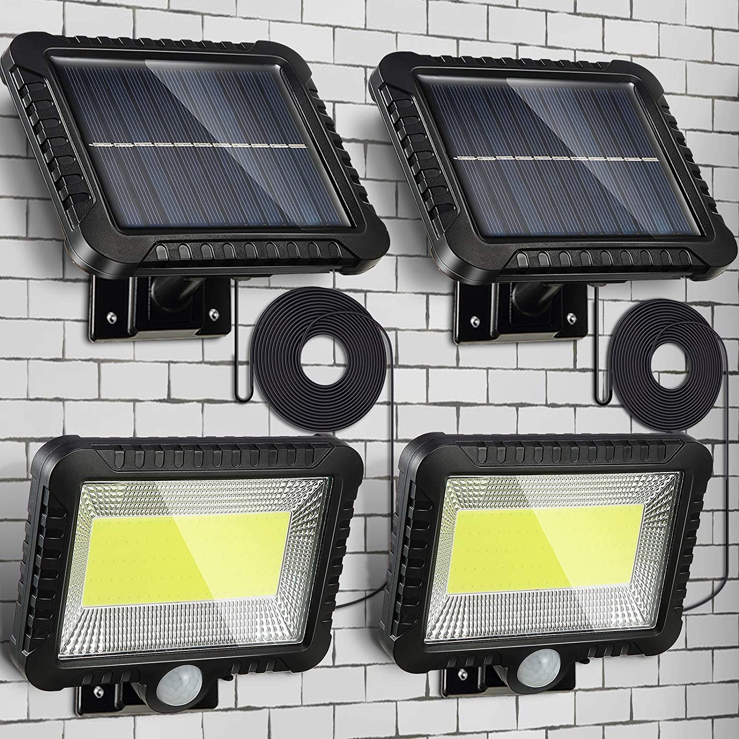 2pcs Solar Lights Outdoor, Waterproof Human Body Induction Solar Powered Wall Lamp 100 LED Spotlight, 5 m/ 16.4 ft Cord Easy-to-Install Security Lights with Adjustable Solar Panel for Garden Garage