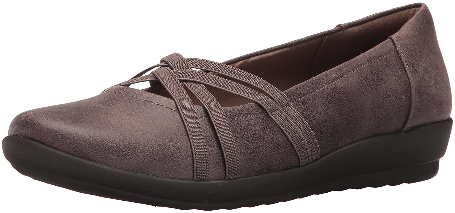 Easy Spirit Women's Aubree2 Flat B01NCXNL8G 5.5 B(M) US|Dark Taupe/Dark Taupe Fabric