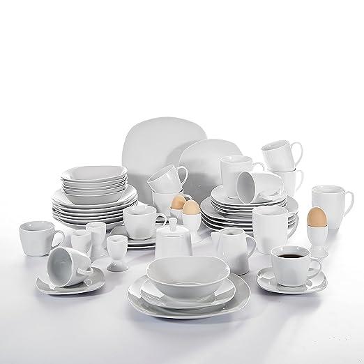 malacasa, serie Elisa, Vajilla de 50 piezas Vajilla Porcelana ...