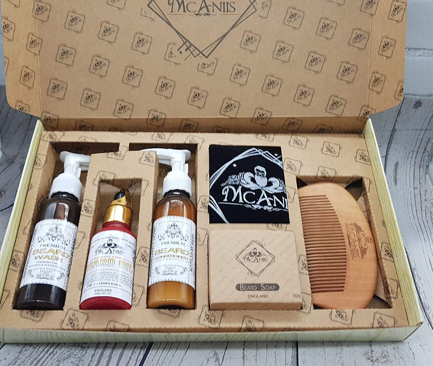 Sale!! Over 30% Off Premium All Natural XL Beard & Moustache Grooming Gift Set - 6 Pieces For Dry & Rough Beard With Wash, Conditioner, Soap, Hardwood Comb - Alluring Tropical Orange & Mango Fruit Extract Oil McAniis Grooming Co.