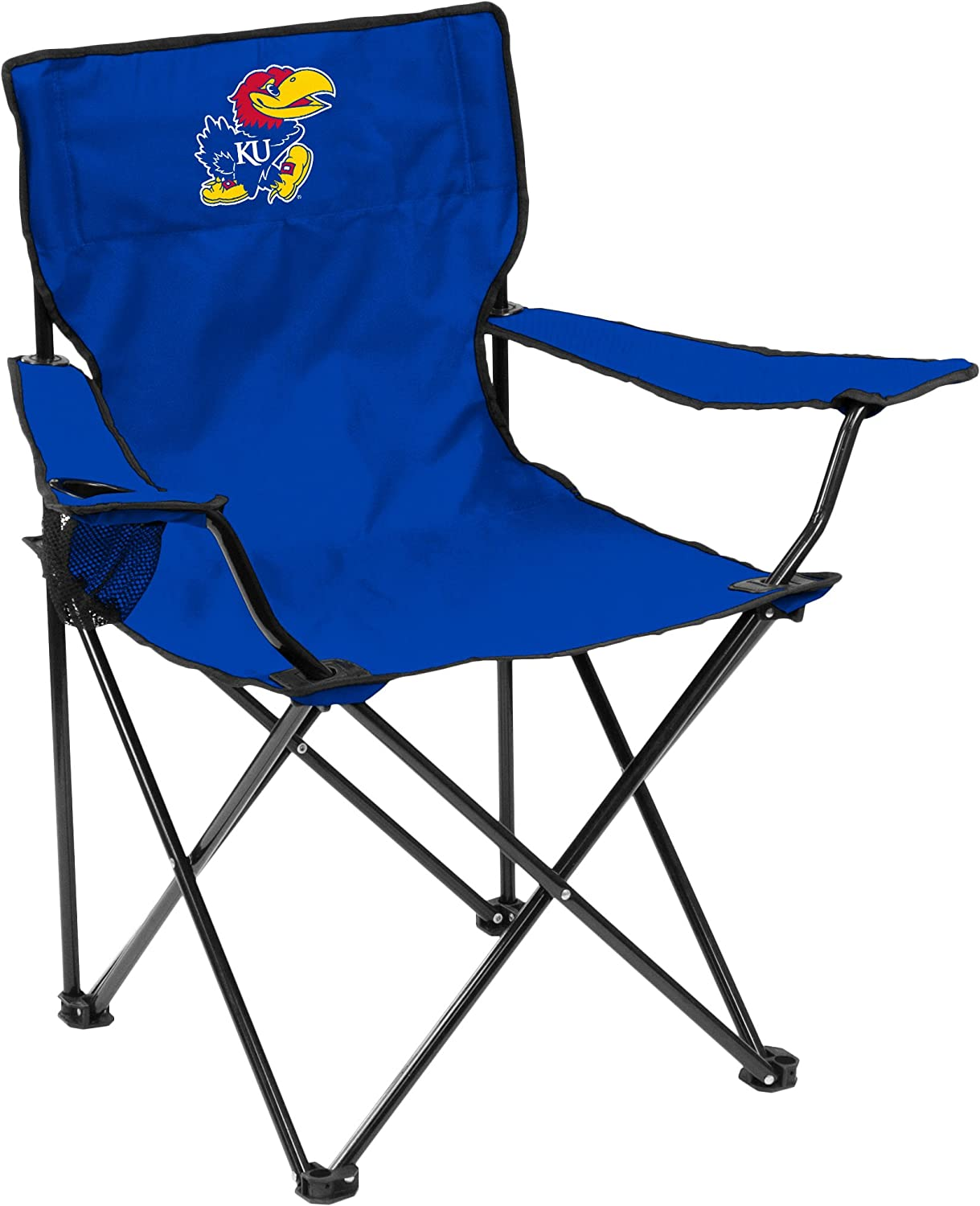 Logo Brands NCAA Kansas Jayhawks Unisex Adult Quad Chair with Single Cup Holder, Blue, One Size