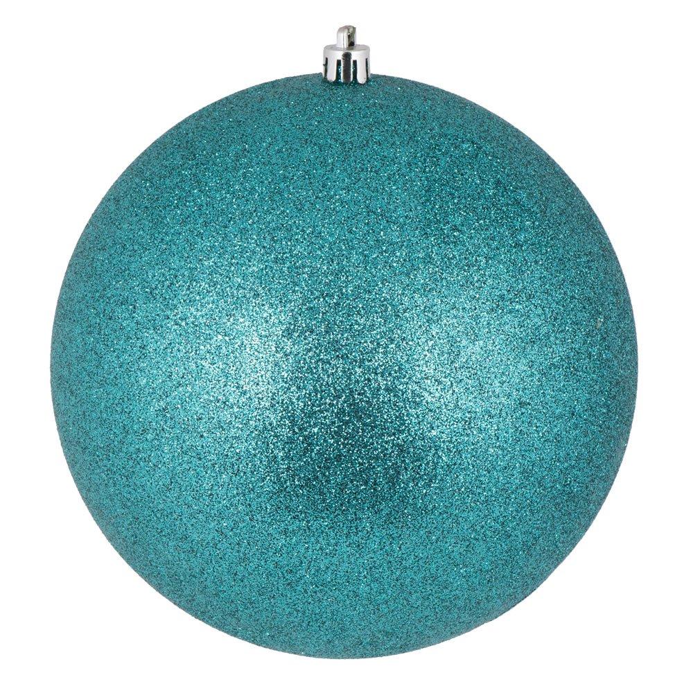 Vickerman N592042DG Glitter ball ornaments. Shatterproof & UV Resistant, Pre-drilled cap Secured & 6'' of Green Floral Wire. 4 per bag, 8'', Teal