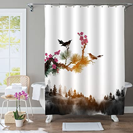 MitoVilla Japanese Painting Bathroom Accessories Black And White Landscape Shower Curtain Little Bird Pine Tree