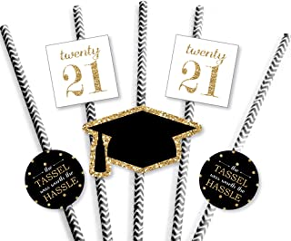 product image for Big Dot of Happiness Gold Tassel Worth The Hassle Paper Straw Decor - 2021 Graduation Party Striped Decorative Straws - Set of 24