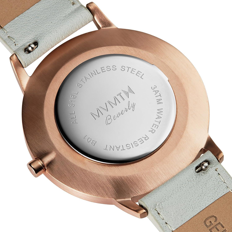 mvmt Boulevard Beverly Rose Oro/Gris Piel Mujer Reloj De Pulsera: Amazon.es: Relojes