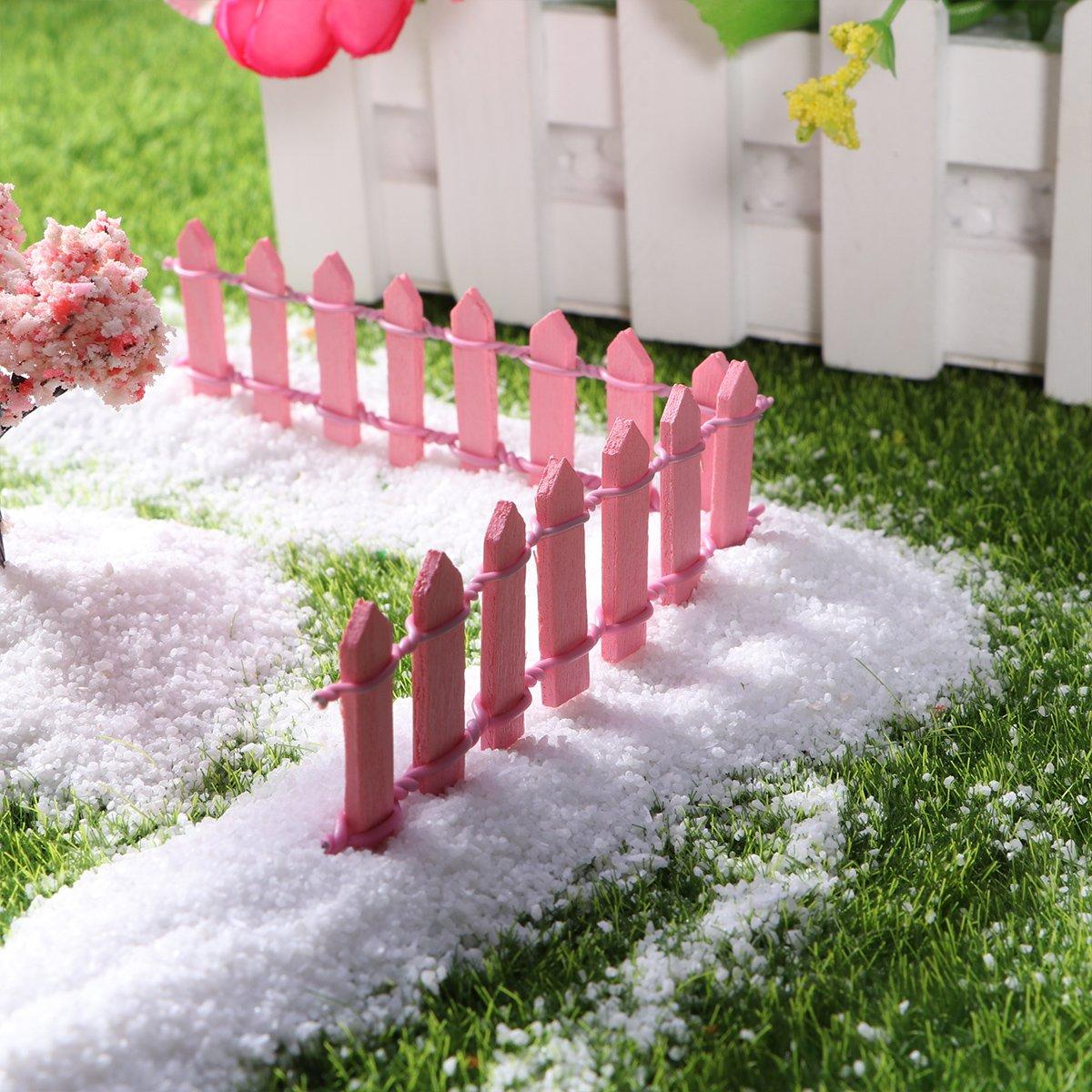 Rosa SUPVOX Cerca de piquete de Madera Adorno de jard/ín en Miniatura Jard/ín de macetas Casa de mu/ñecas Decoraciones artesanales de Bricolaje