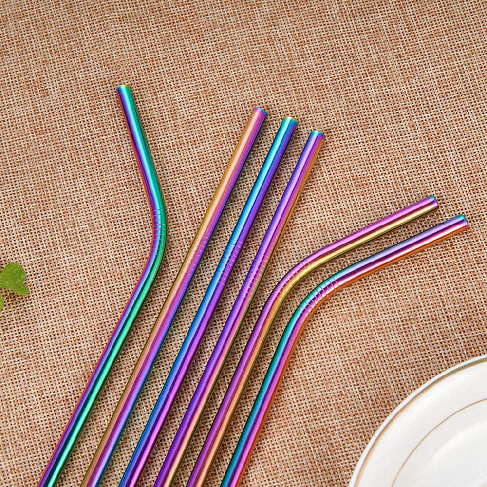 LKZAIY Metal Straws Stainless Steel Straw Reusable Drinking Straws 8.5\