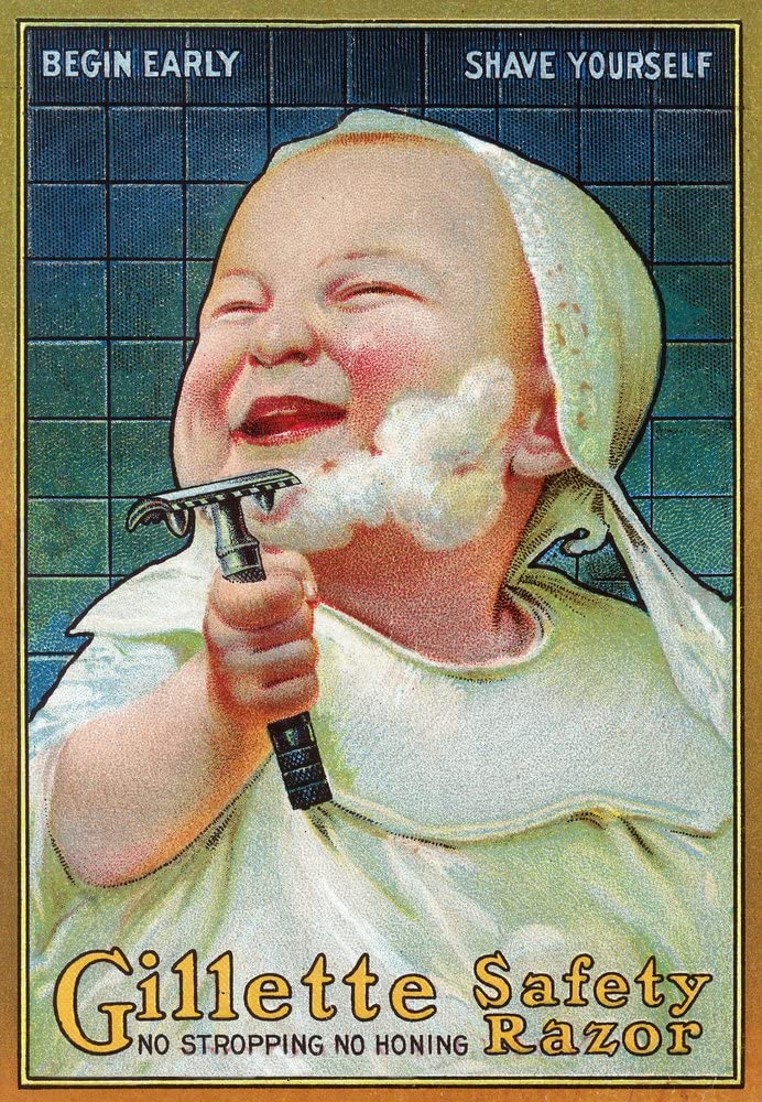 Gillette Safety Razor - Begin Early Shave Yourself - Vintage Advertisement (24x36 Giclee Gallery Print, Wall Decor Travel Poster)