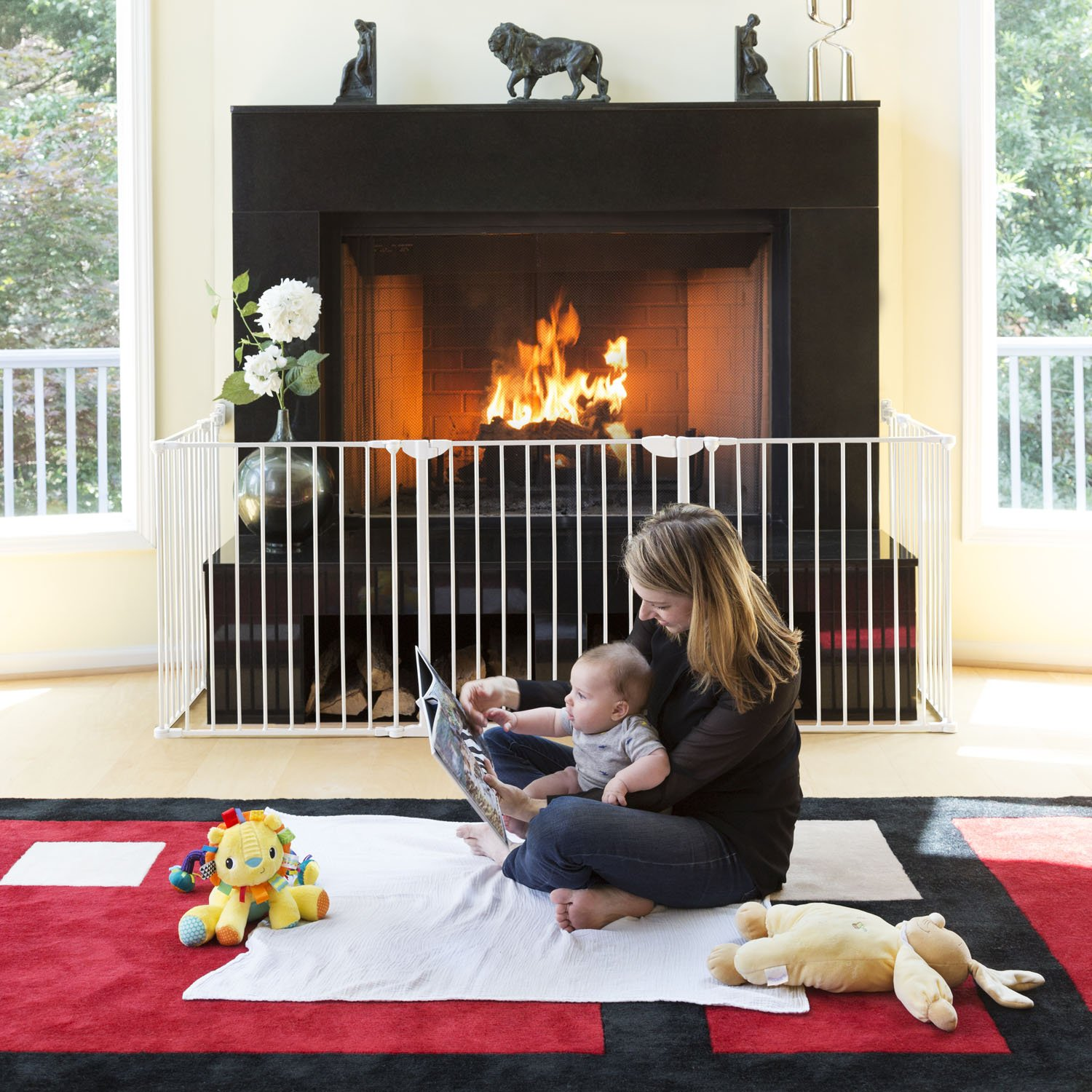 QDOS Construct-A-SAFEGATE – Create Customized Safe Spaces Around Fireplaces, Large Openings, Stairways - Includes a Door & 2 Sections - Create Enclosures & Playards with Additional Sections   Slate by Qdos Safety (Image #4)
