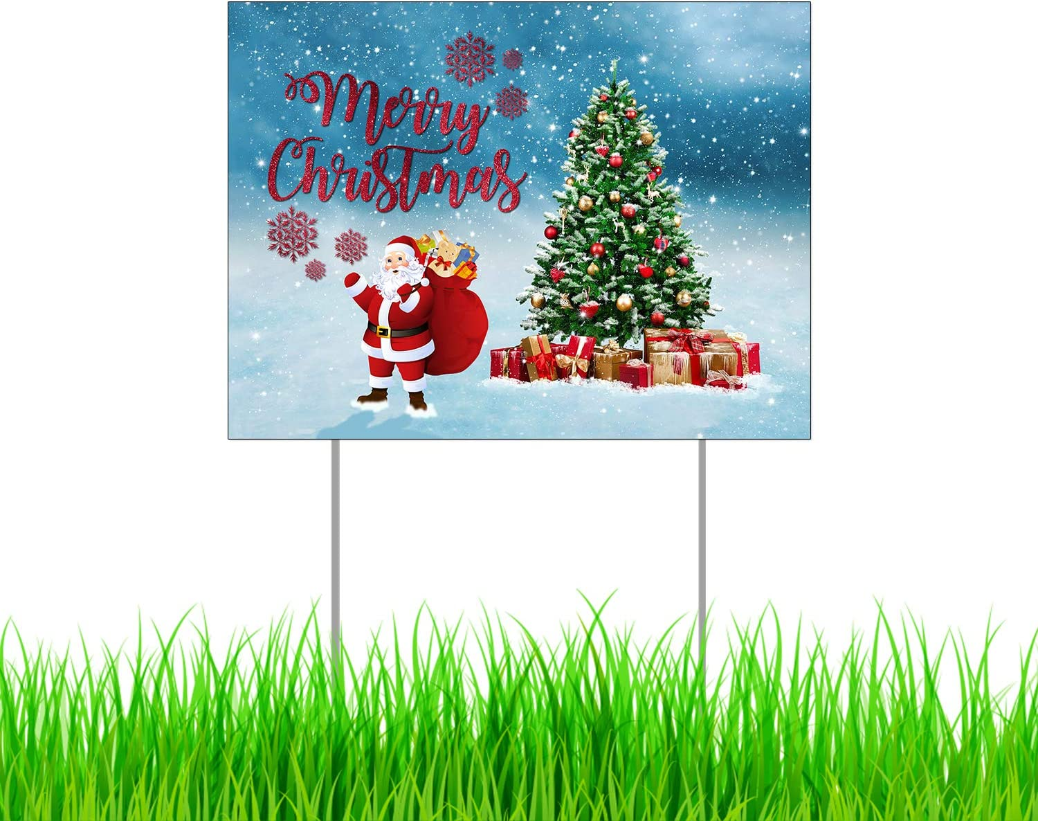 "Merry Christmas Yard Sign with Metal Stakes, Non-Reflective UV Print Corrugated Plastic Sheets, Indoor & Outdoor Holiday Season Garden Lawn Signs (24"" X 18"", Single Sided Print)"