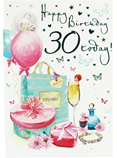 Happy 30th Birthday Greeting Card For Ladies Her Girly Age Hallmark Verse Foil