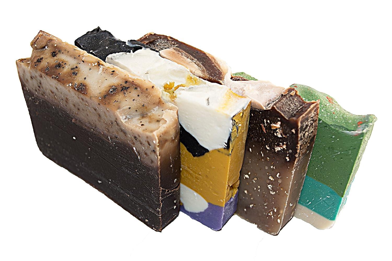 Mañana energía jabón Bar Set (4 barras de invitados) -Todos jabones para paquete de energía ducha. Avena y Miel, Té Verde, Té blanco y jengibre y CAFA ...