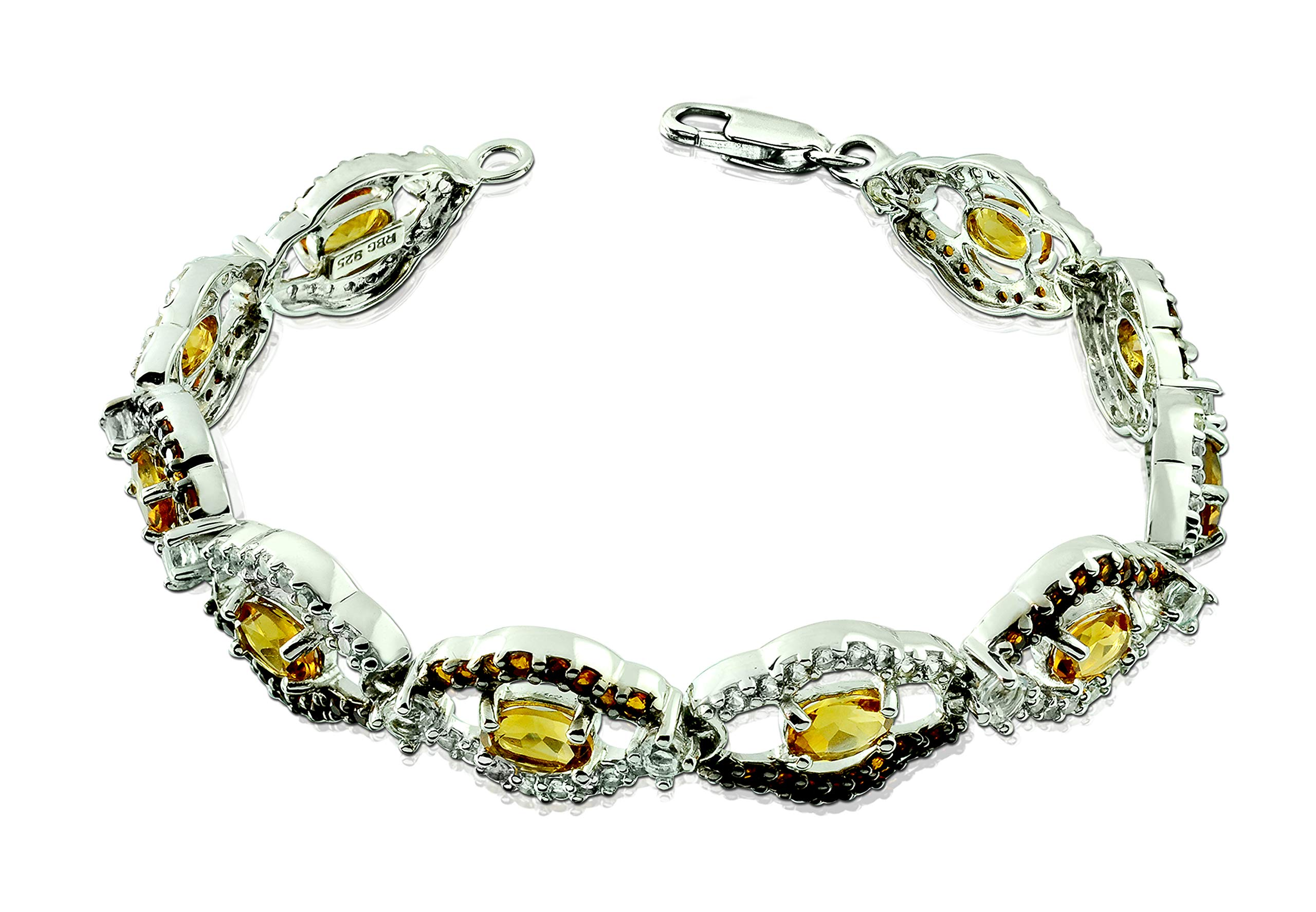 RB Gems Sterling Silver 925 Tennis Bracelet 10 Cts Natural Gemstone Oval, 7'' Long, Lobster Claw Clasp (Yellow) by RB Gems