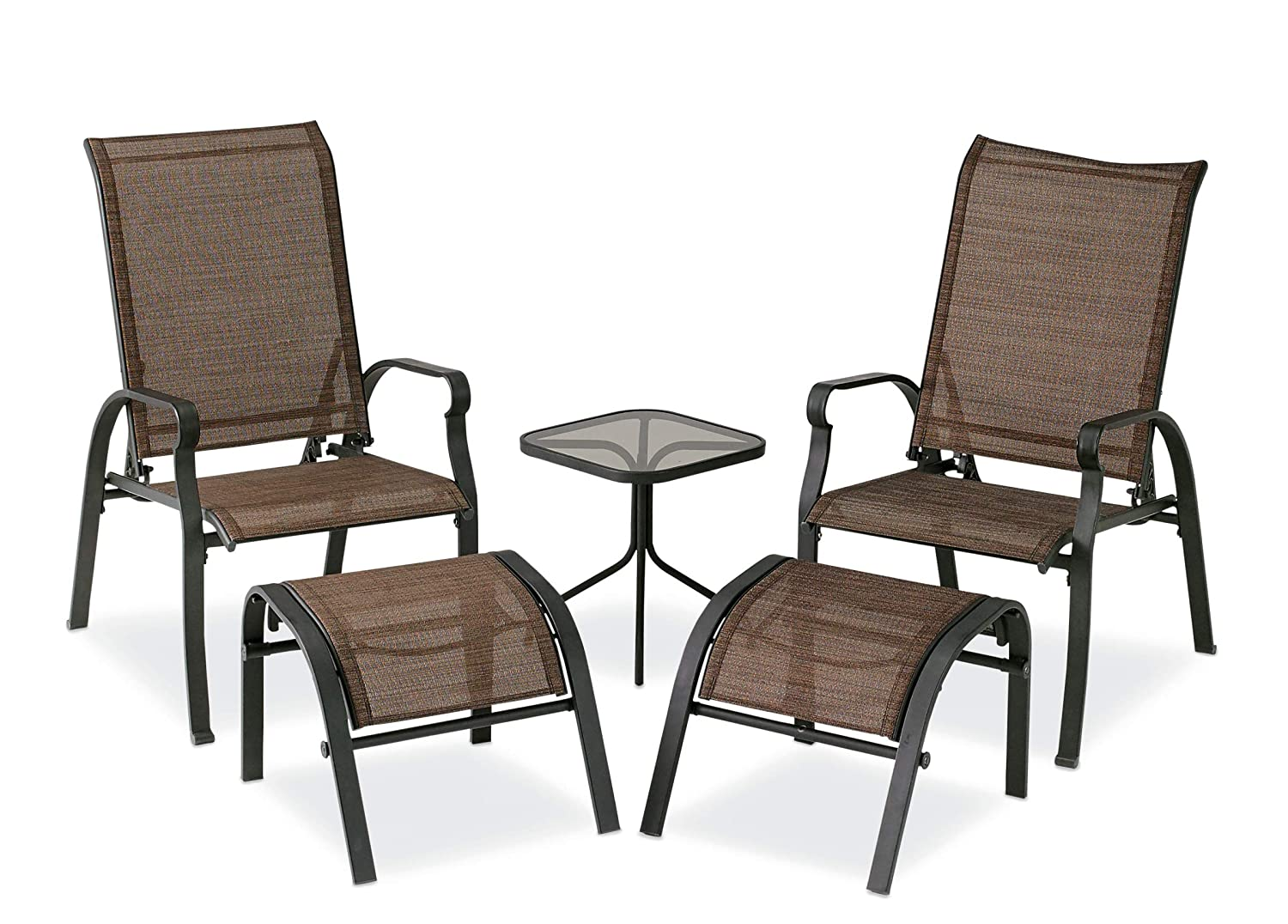 Fantastic Courtyard Creations Kts7377 Four Seasons Verona 5 Piece Brown Sling Outdoor Set Ocoug Best Dining Table And Chair Ideas Images Ocougorg
