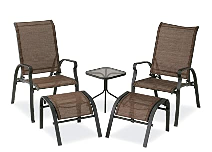 Surprising Courtyard Creations Kts7377 Four Seasons Verona 5 Piece Brown Sling Outdoor Set Gmtry Best Dining Table And Chair Ideas Images Gmtryco