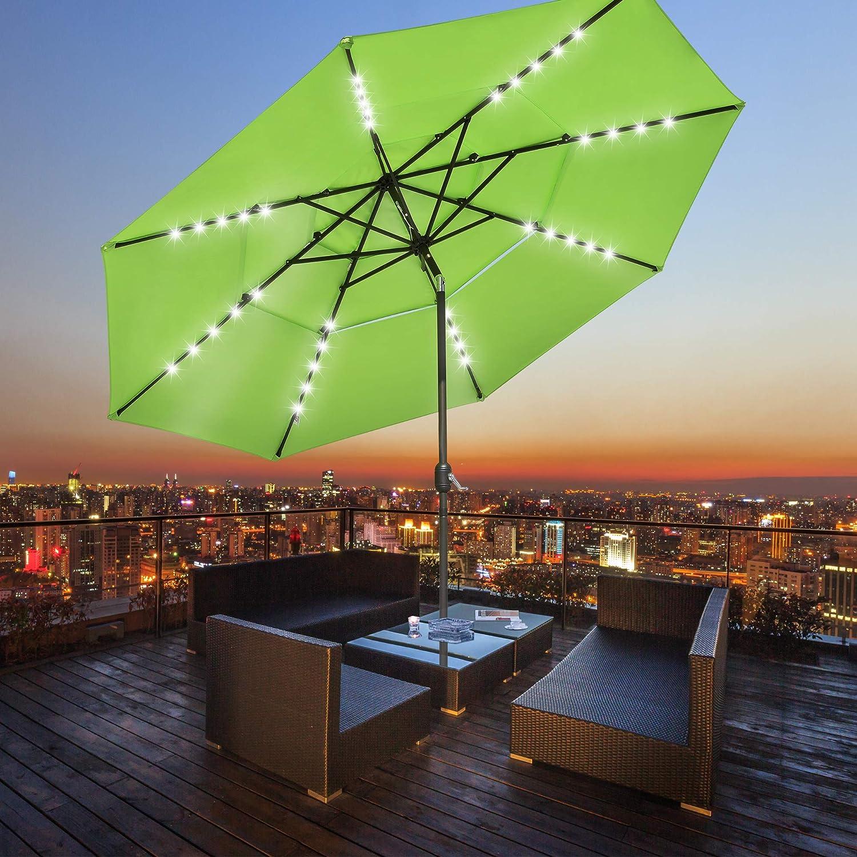 Yescom 11ft 3 Tier UV70+ Solar Powered Patio Umbrella with LED Crank Tilt Button Aluminum Outdoor Market Pool Furniture