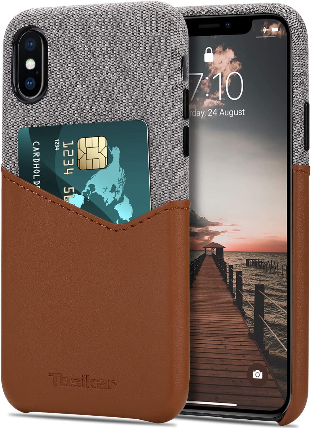 Tasikar Compatible with iPhone Xs Case/iPhone X Case Card Holder Slot Wallet Case Premium Leather and Fabric Design Compatible with iPhone Xs/iPhone X (Brown)