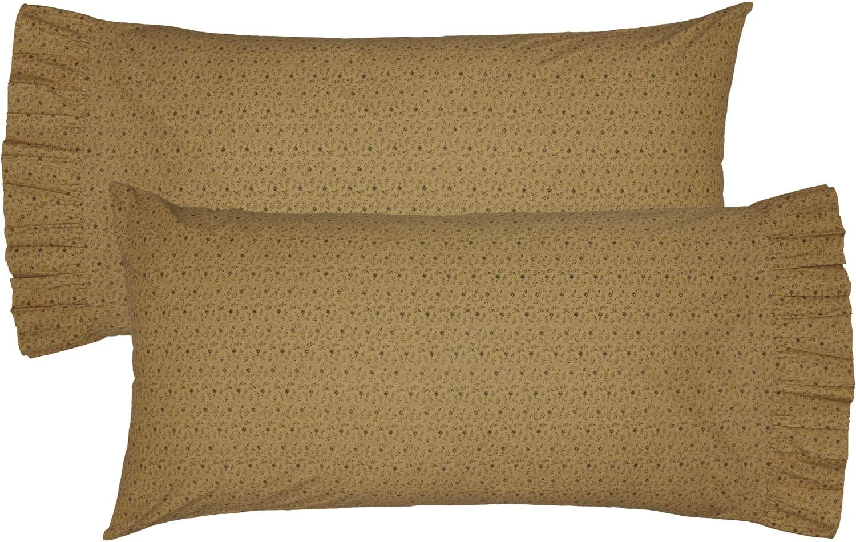 Vhc Brands Maisie Floral Flower Cotton Primitive Bedding King Pillow Case Set Of 2 Natural Tan Home Kitchen