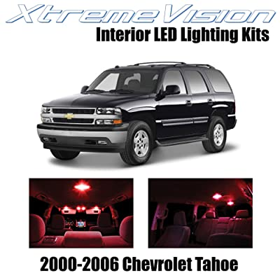 Xtremevision Interior LED for Chevy Tahoe 2000-2006 (18 Pieces) Red Interior LED Kit + Installation Tool: Automotive