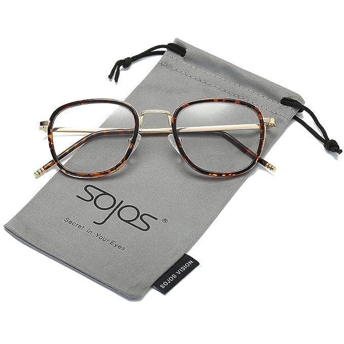 SOJOS Klassische Nerdbrille Unisex Wechselgläser Rechteckig Brillenfassung SJ5017 mit Schwarz Rahmen vamdCDAm