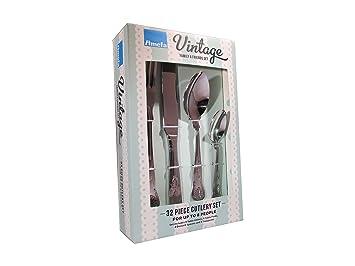 Amefa Vintage Kings - Cubertería de acero inoxidable (32 piezas): Amazon.es: Hogar