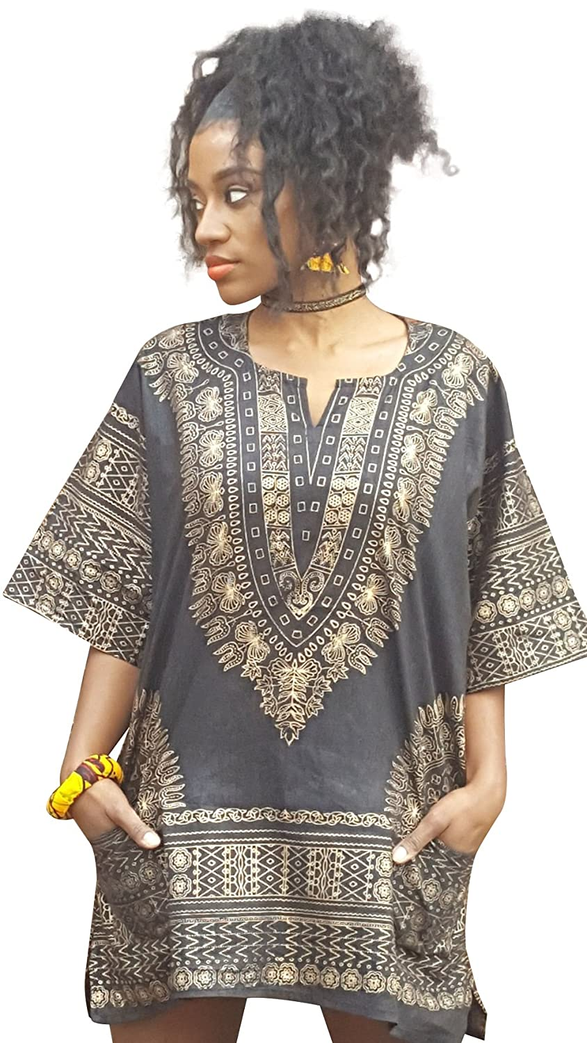 Dupsie's Black and Gold Traditional African Dashiki Shirt