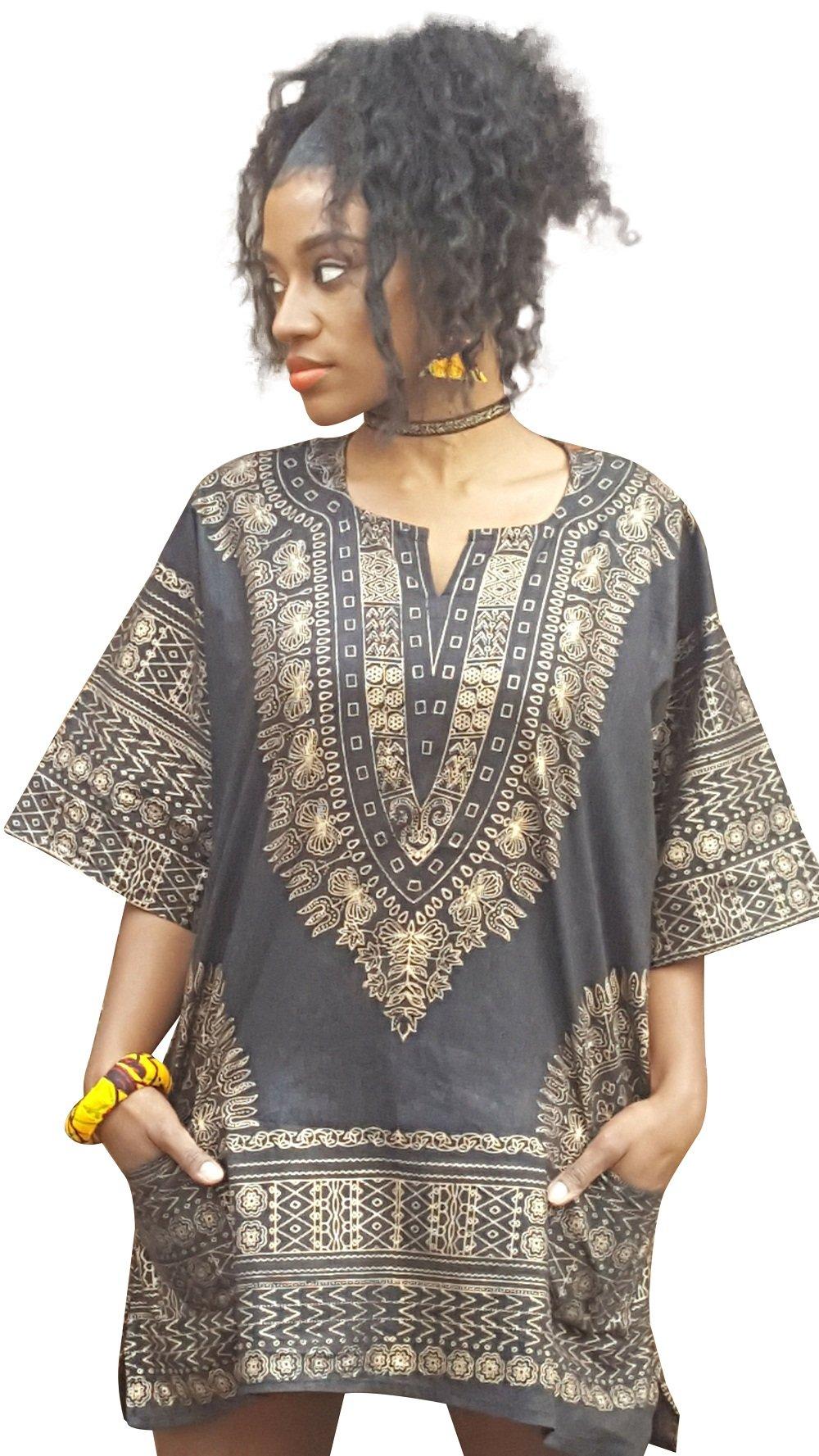 Black and Gold Traditional African Dashiki Shirt (Large)