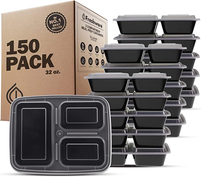 Freshware Meal Prep Containers [150 Pack] 3 Compartment with Lids, Food Containers, Lunch Box | BPA Free | Stackable | Bento Box, Microwave/Dishwasher/Freezer Safe, Portion Control, 21 day fix (32 oz)