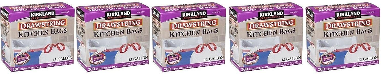 Kirkland Signature Drawstring rbsuxfキッチンゴミ箱バッグ – 13ガロン、5パック( 200 Count ) B07433TTNF
