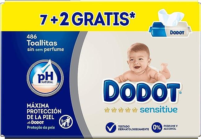 Dodot Toallitas Sensitive - 9 Paquetes de 54 unidades - Total: 486 ...