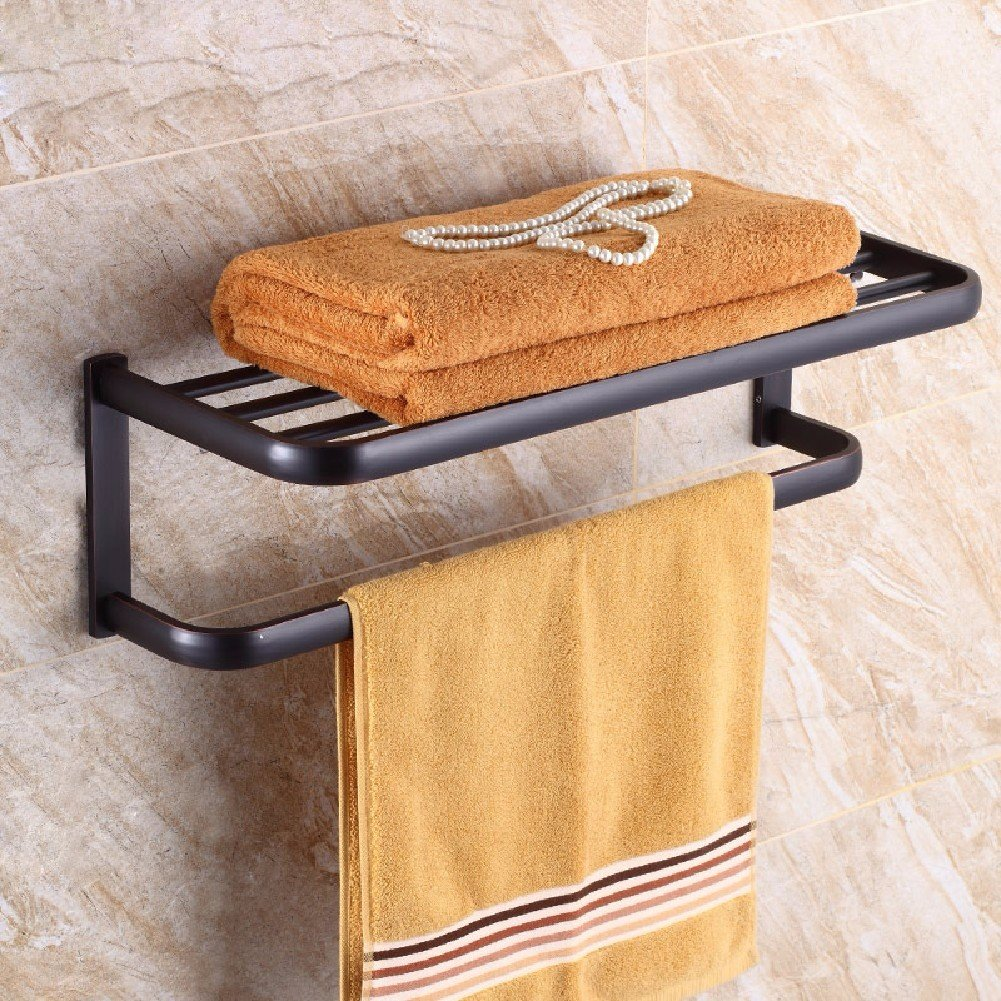 HQLCX Black Bath Towel Bar, Antique Bathroom, All Copper Double Shelf