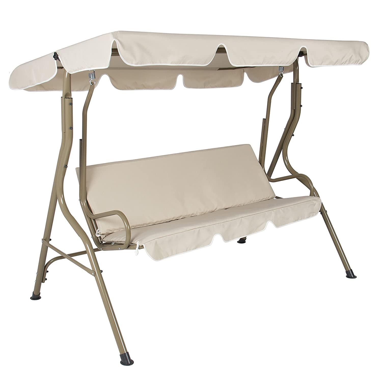 Amazon.com : Best Choice Products 2 Person Outdoor Large Convertible Canopy  Swing Glider Lounge Chair W/Removable Cushions   Beige : Garden U0026 Outdoor