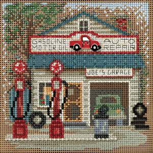 Joe's Garage Beaded Counted Cross Stitch Kit Mill Hill 2016 Buttons & Beads Spring MH141614 Main Street Series