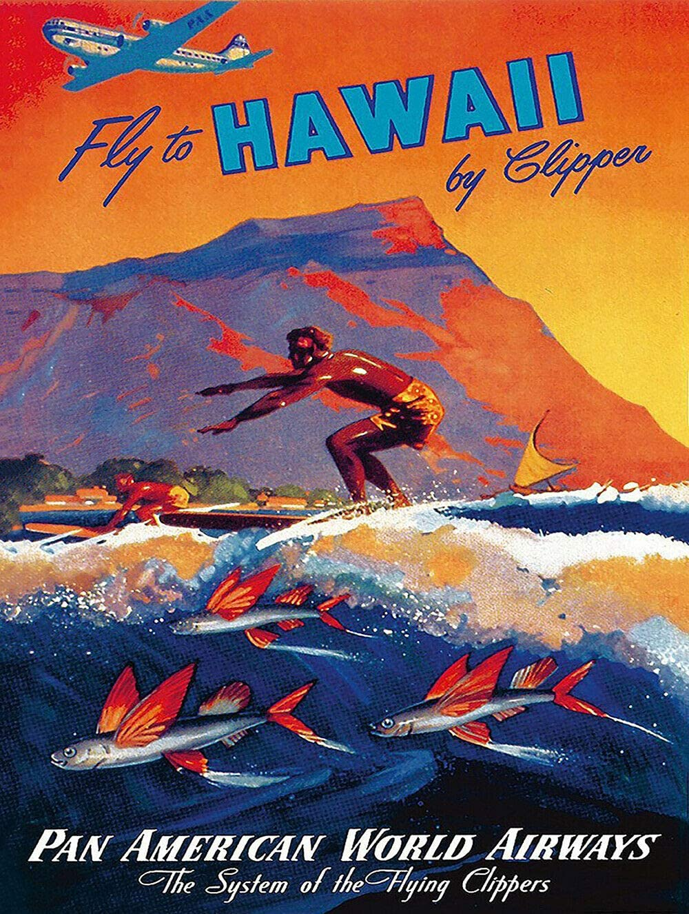 """Hawaii Pan American Airlines Metal Sign Polynesian Decor Vintage Aluminum Metal Signs Tin Plaques Wall Poster for Garage Man Cave Beer Cafee Bar Pub Club Home Decor 8""""x12"""""""