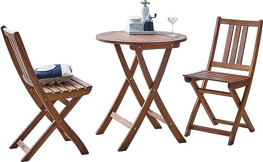 SAM® Conjunto para jardín o balcón, mueble de madera de acacia, 3 piezas, 1 mesa + 2 sillas plegables aceitadas, con vetas muy bonitas, certificadas FSC® 100%.: Amazon.es: Jardín