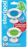 Steripod Clip-on Toothbrush Protector (2 Pack Clear Blue & Clear Green) I Protects Against Soap, Dirt and Hair I For Travel, Home, Camping