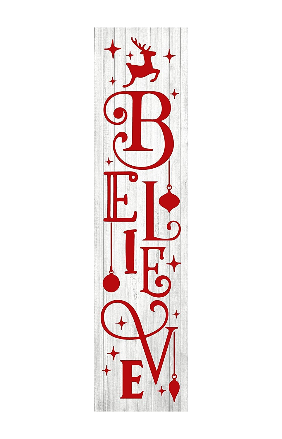 24 Inch (2 Foot Tall) Red and White Believe Christmas Vertical Wood Print Sign