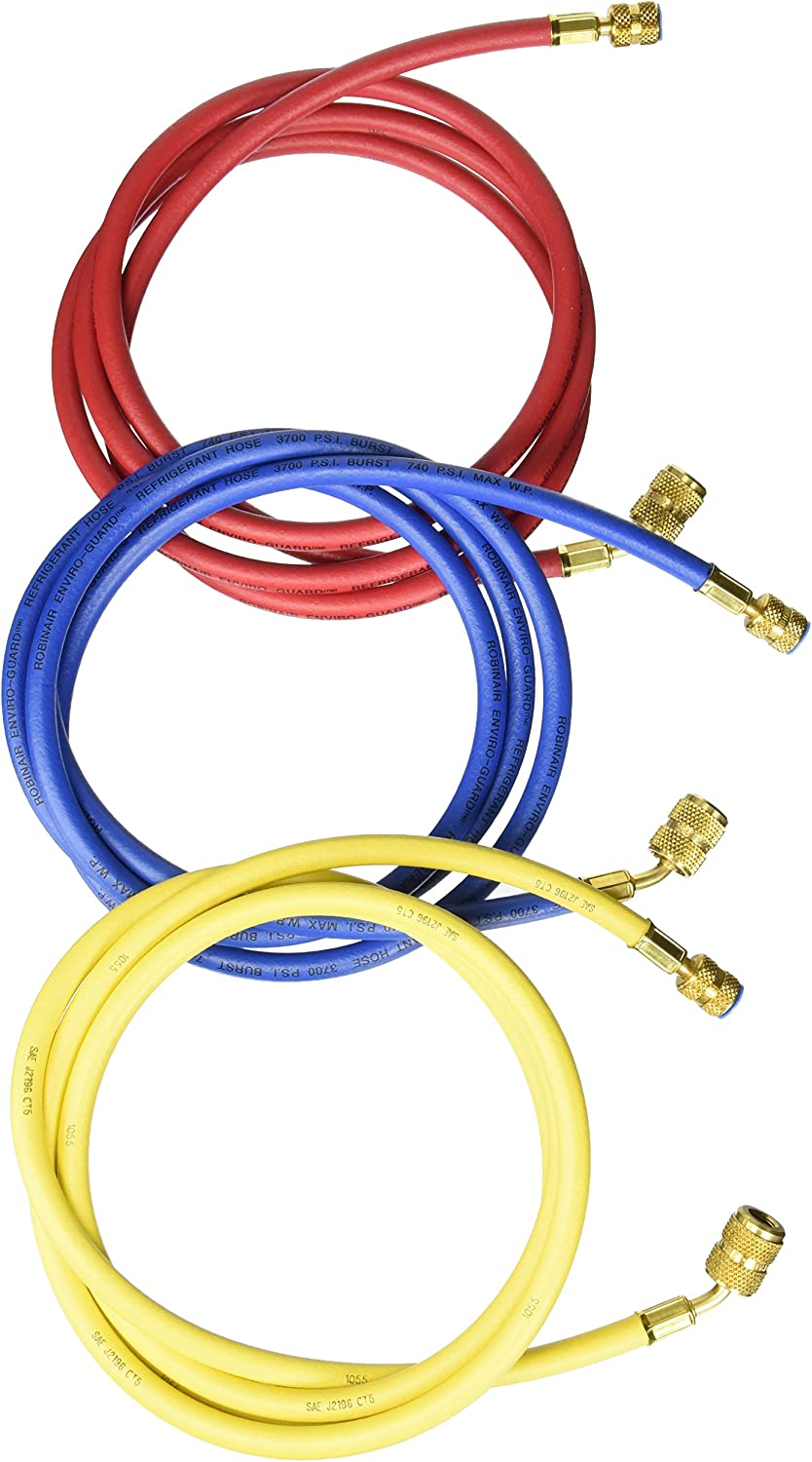 Robinair 69096A Enviro-Guard 96 Hose with 45 Degree Quick Seal Fittings, Set of 3