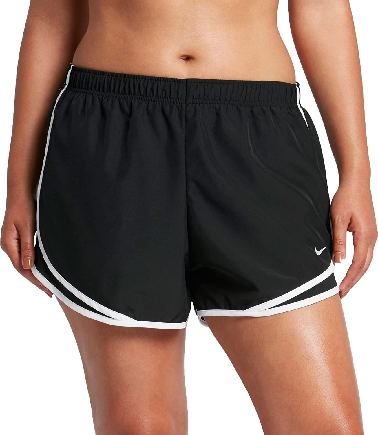 7a4b28079a8 Amazon.com   NIKE Women s Plus Size 3   Dry Tempo Running Shorts  (Black Blk White Wolf Grey
