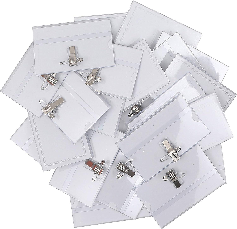 Porta Tarjetas Identificativas Transparente (Pack de 50) - 9cm x 5,7cm Tarjeta de Identificación Horizontal - Portanombres con Pin Imperdible y Pinza Cocodrilo para Escuela, Oficina, Universidad