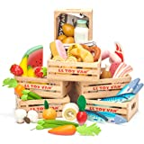 Le Toy Van TV188 Honeybake Wooden Market Crates (Set of 6) - Fresh Fruits and Vegetables