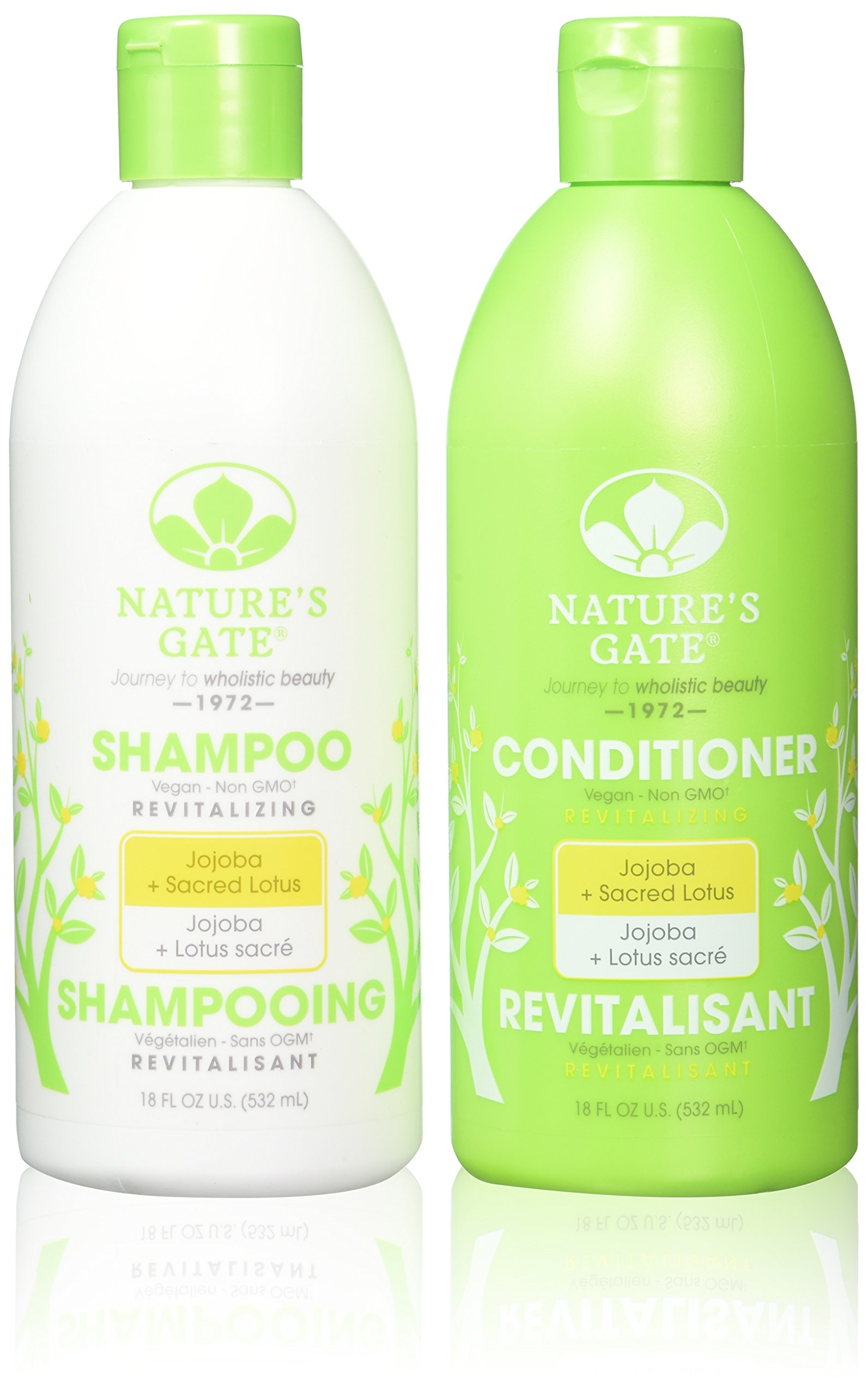 Natures Gate Natural Aloe Vera Velvet Daily Energizing Bubble Bath Foam Aromatherapy Pure Peppermint Essential Oil Pink Lotus Jojoba Revitalizing Duo Set Shampoo Conditioner 18 Ounce Each