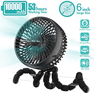 6-Inch Versatile Fan, 10000mAh Battery Powered Clip On Fan With 53H Long Working Time, 4 Speeds, Strong Wind, Sturdy Tripod, 360° Rotate Ultra Quiet USB Fan for Stroller Treadmill Tent Car Seat Crib Bike