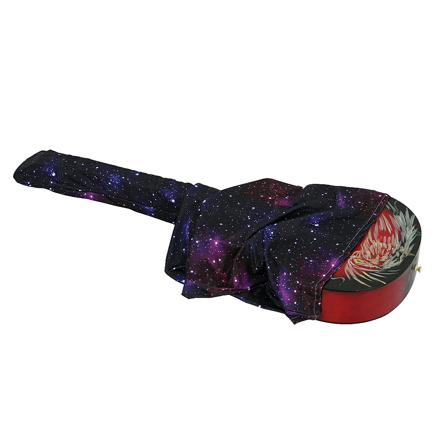 41 INCH Guitar Cover Adjustable Durable Soft Polyester Cloth Acoustic Electric Guitar Dust Cover Purple Star Space Pattern Guitar Gig Bag JT02 ZhuoLang