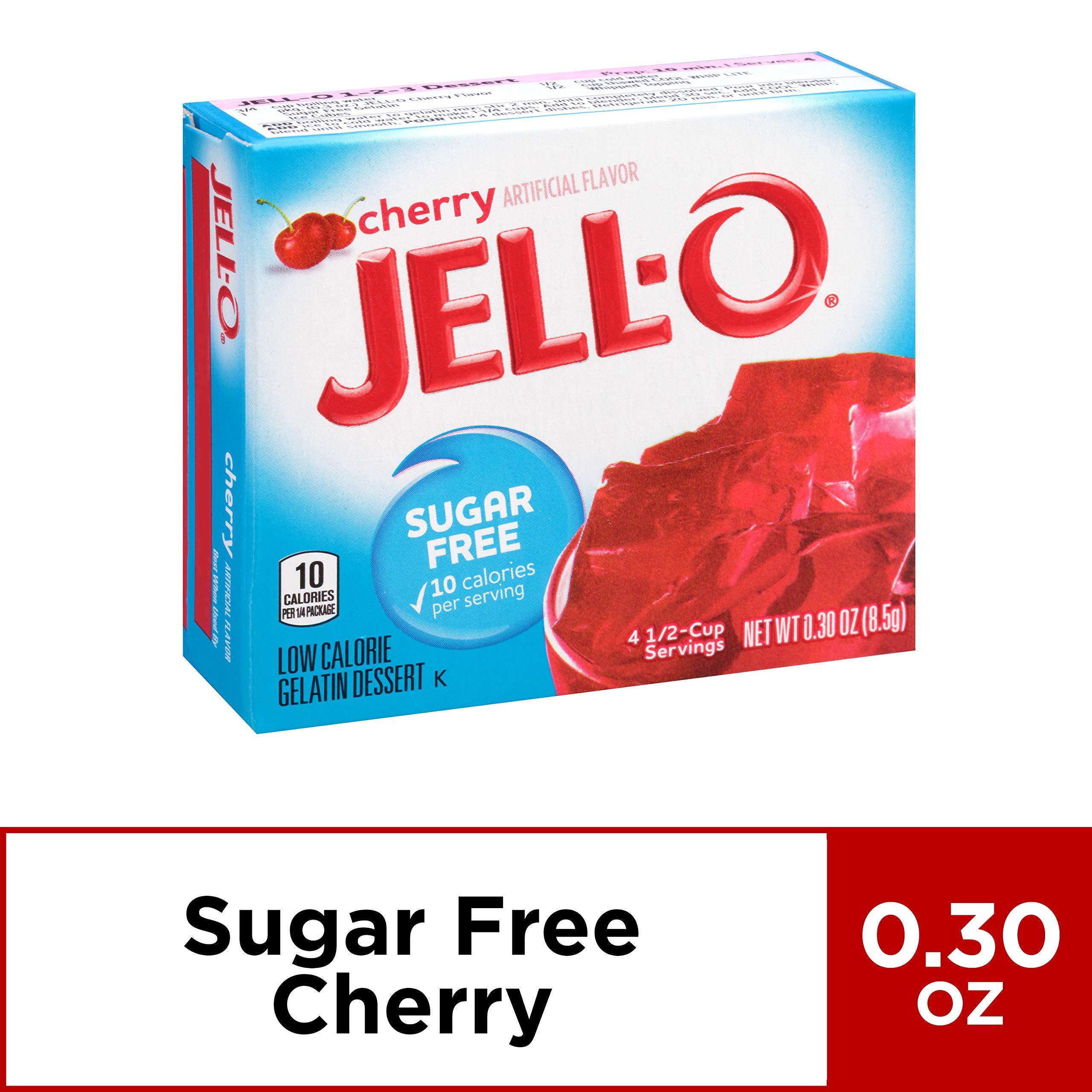 JELL-O Cherry Sugar Free Gelatin Dessert Mix (0.30 oz Boxes, Pack of 24)
