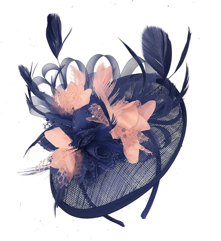 Caprilite Navy Blue Mix Colour Sinamay Disc Saucer Fascinator Hat for Women Weddings Headband